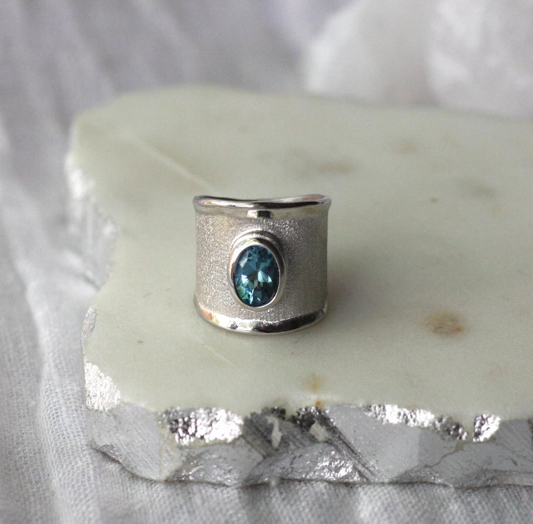 Yianni Creations London Blue Topaz Fine Silver Palladium Wide Band Ring In New Condition For Sale In Astoria, NY