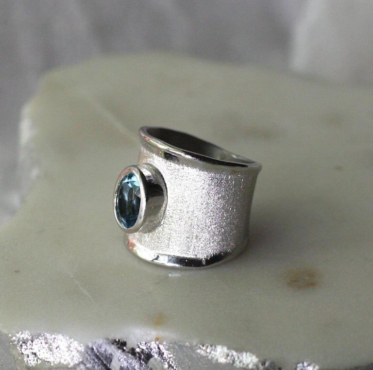 Yianni Creations London Blue Topaz Fine Silver Palladium Wide Band Ring For Sale 1
