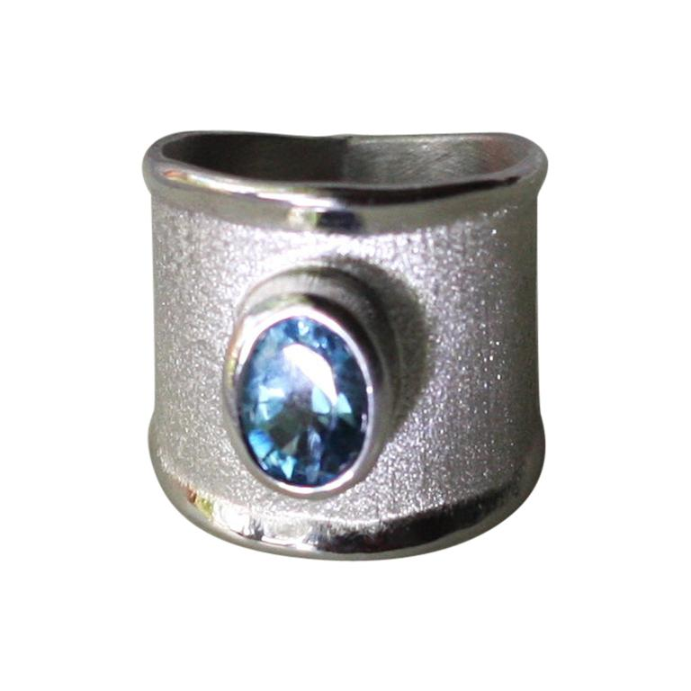Yianni Creations London Blue Topaz Fine Silver Palladium Wide Band Ring For Sale