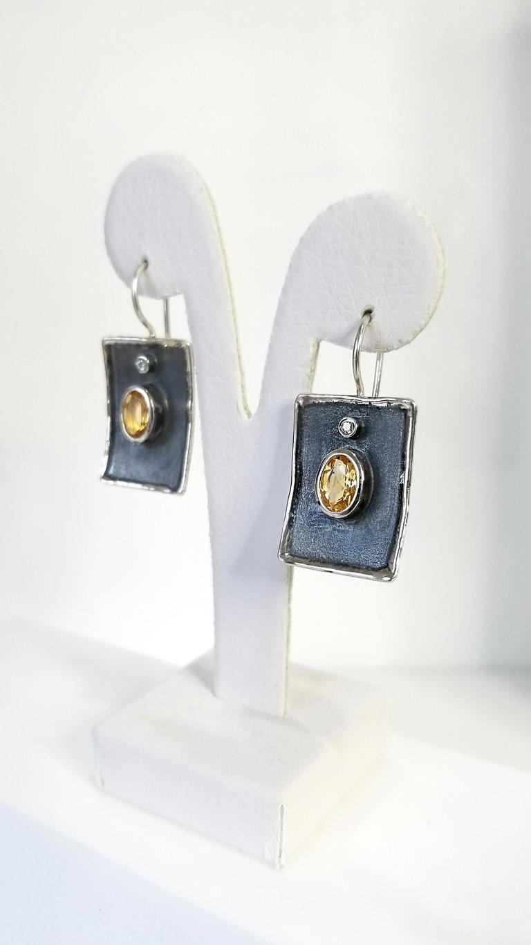 Contemporary Yianni Creations Citrine and White Diamond Fine Silver Black Rhodium Earrings For Sale