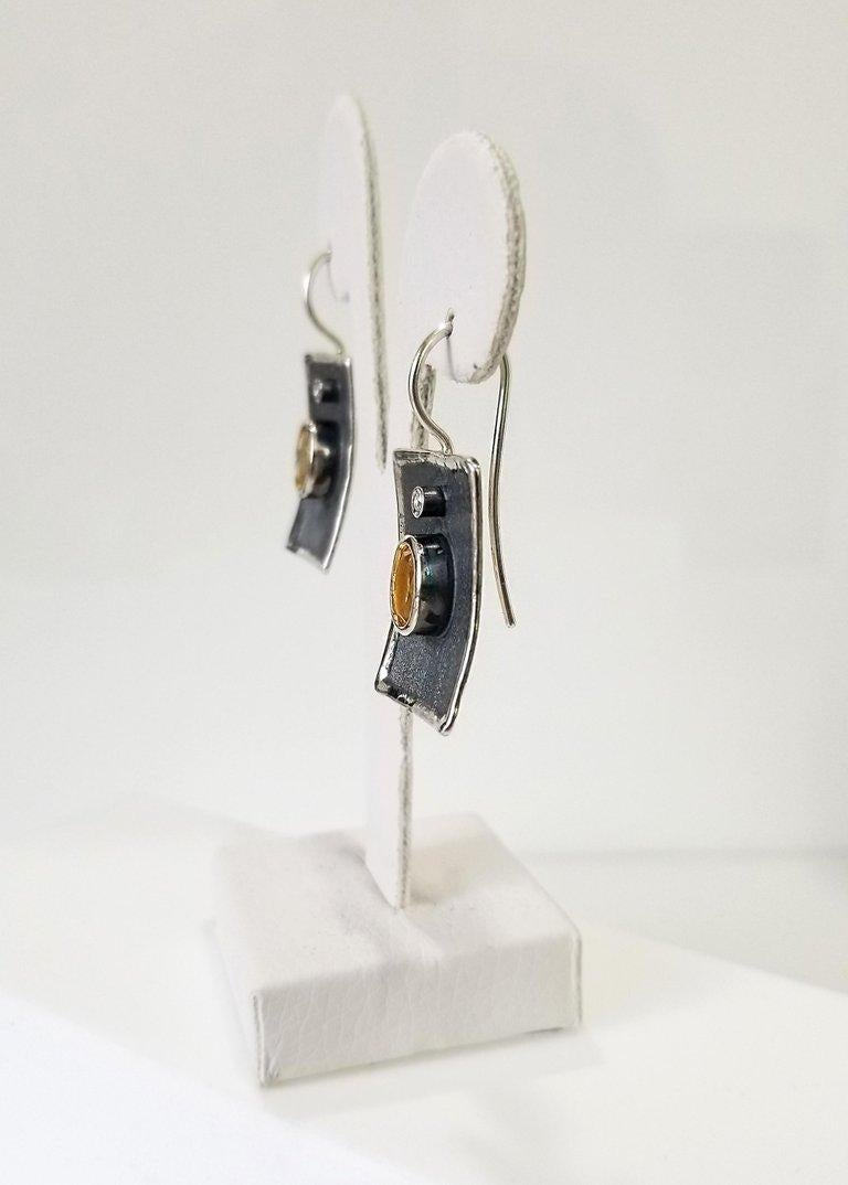 Oval Cut Yianni Creations Citrine and White Diamond Fine Silver Black Rhodium Earrings For Sale