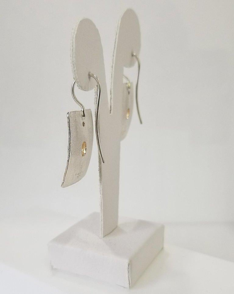 Yianni Creations Citrine and White Diamond Fine Silver Black Rhodium Earrings In New Condition For Sale In Astoria, NY