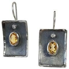 Yianni Creations Citrine and White Diamond Fine Silver Black Rhodium Earrings