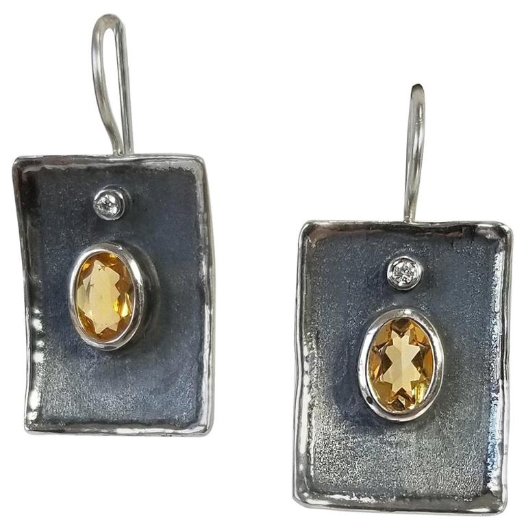 Yianni Creations Citrine and White Diamond Fine Silver Black Rhodium Earrings For Sale