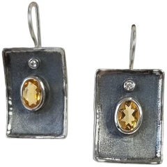 Yianni Creations 2.50 Carat Citrine and Diamond Fine Silver Rhodium Earrings