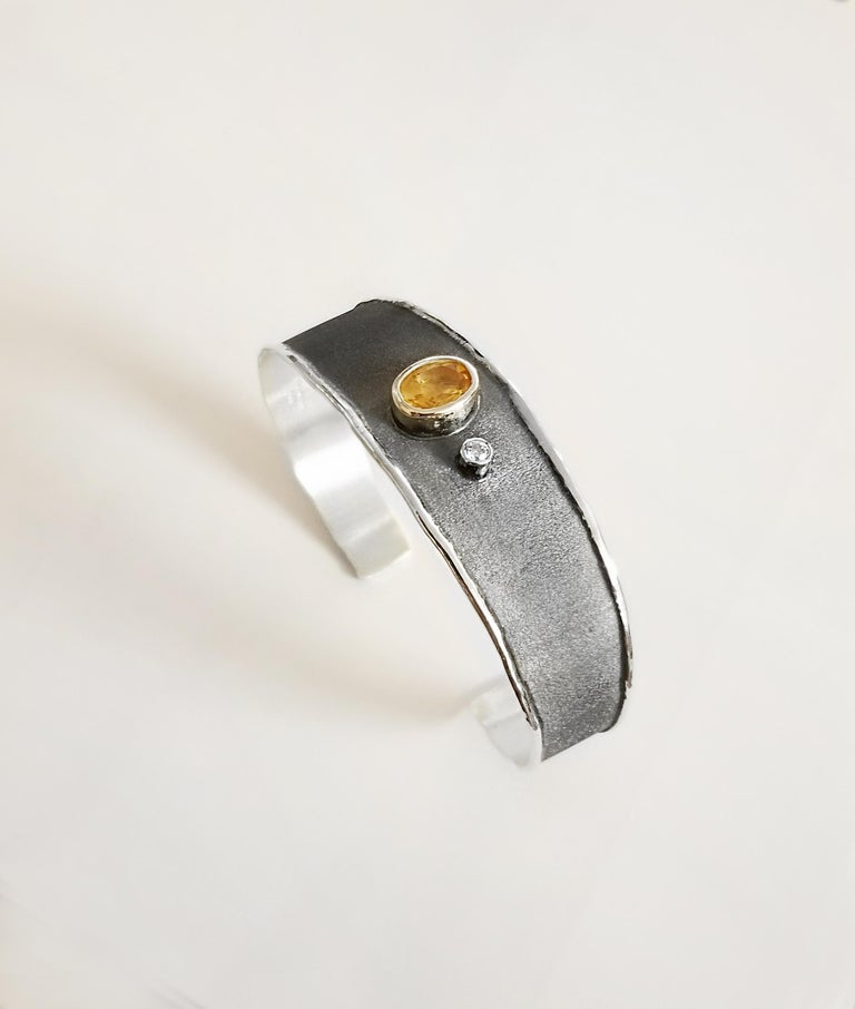 Yianni Creations 2.50 Carat Citrine Diamond Fine Silver Set of Ring and Bracelet For Sale 1