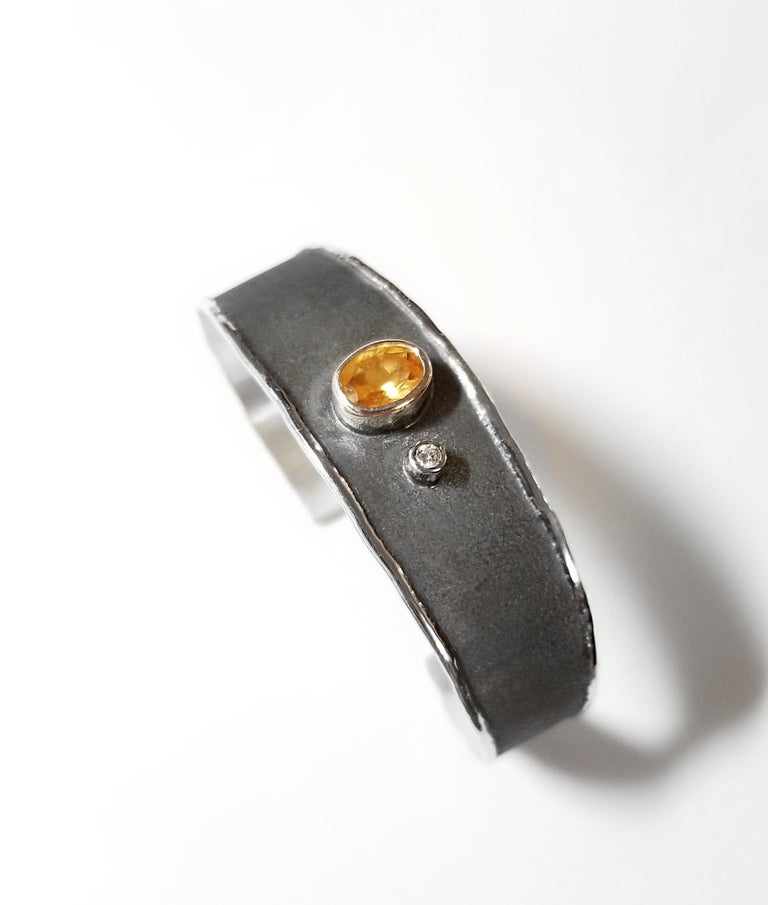 Yianni Creations 2.50 Carat Citrine Diamond Fine Silver Set of Ring and Bracelet For Sale 3