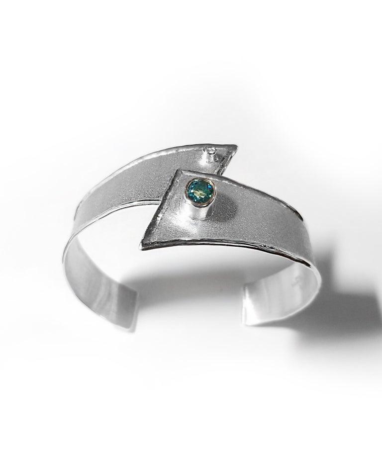 Contemporary Yianni Creations 2.50 Carat Topaz Diamond Fine Silver Palladium Bangle Bracelet For Sale