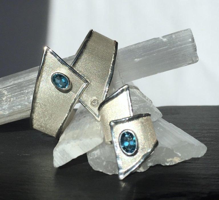 Yianni Creations 2.50 Carat Topaz Diamond Fine Silver Palladium Bangle Bracelet For Sale 1