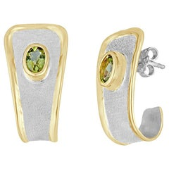 Yianni Creations 2.70 Carat Oval Peridot Fine Silver and 24 Karat Gold Earrings