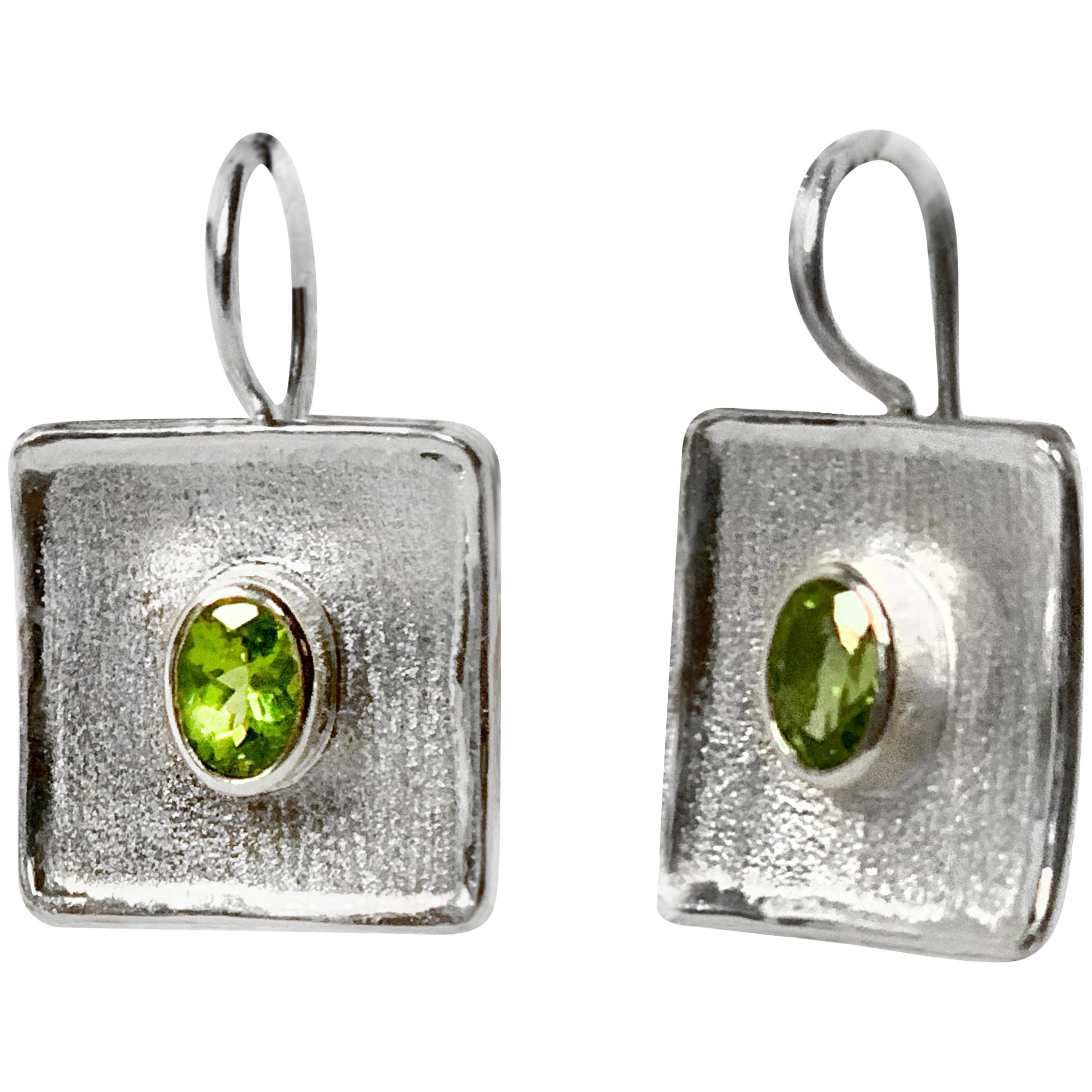Yianni Creations 2.70 Carat Peridot Fine Silver and Palladium Square Earrings