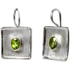Yianni Creations 2.70 Carat Peridot Fine Silver and Palladium Square Earrings