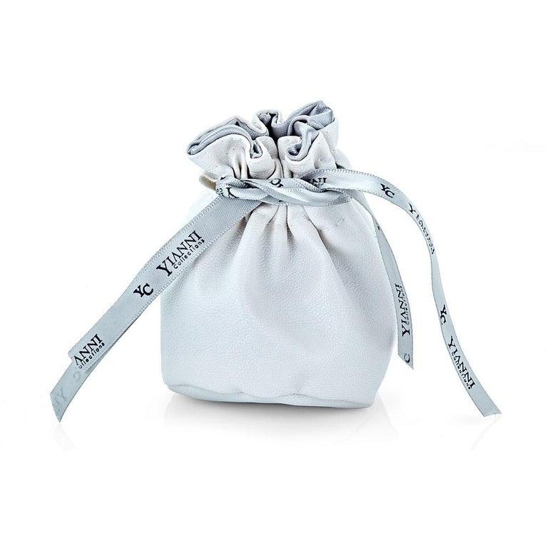 Yianni Creations 2.85 Carat Aquamarine Diamond Fine Silver and 24 Karat Gold Set For Sale 5