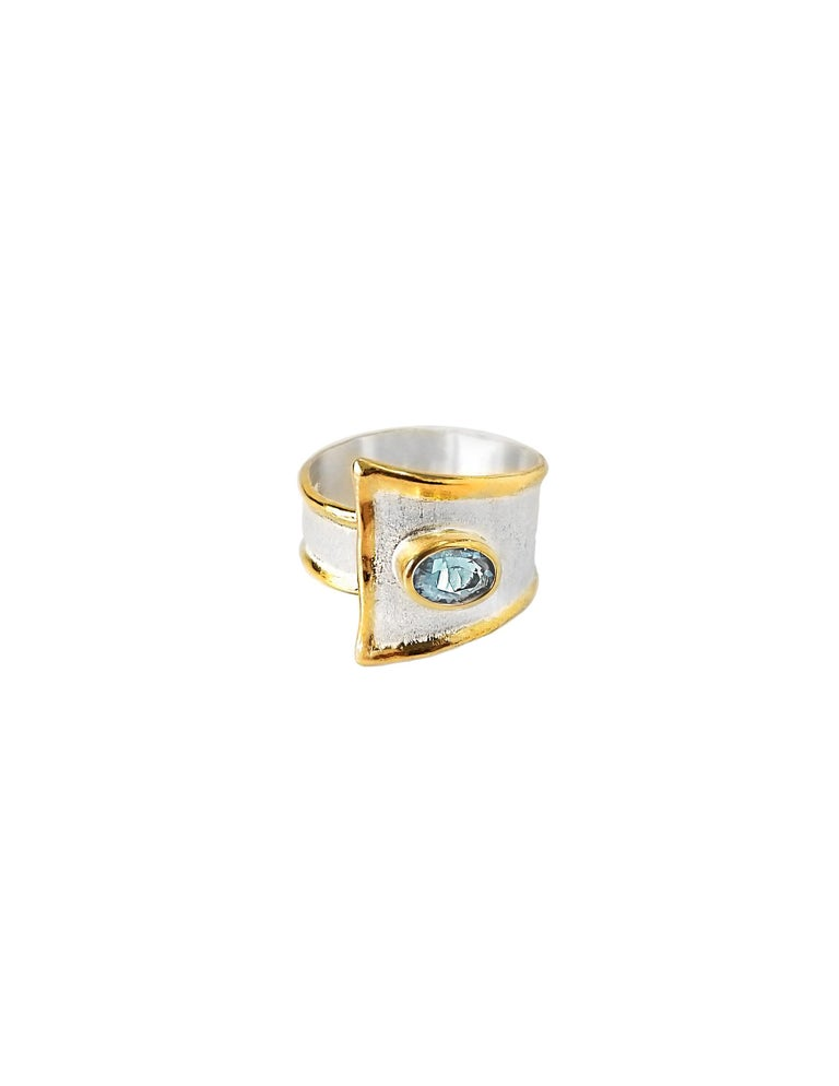 Stunning Yianni Creations Midas Collection set of bracelet and ring handmade from fine silver 950 purity plated with palladium to resist against elements. The liquid edges are plated with thick overlay of 24 karat yellow gold. Ring features 1.10