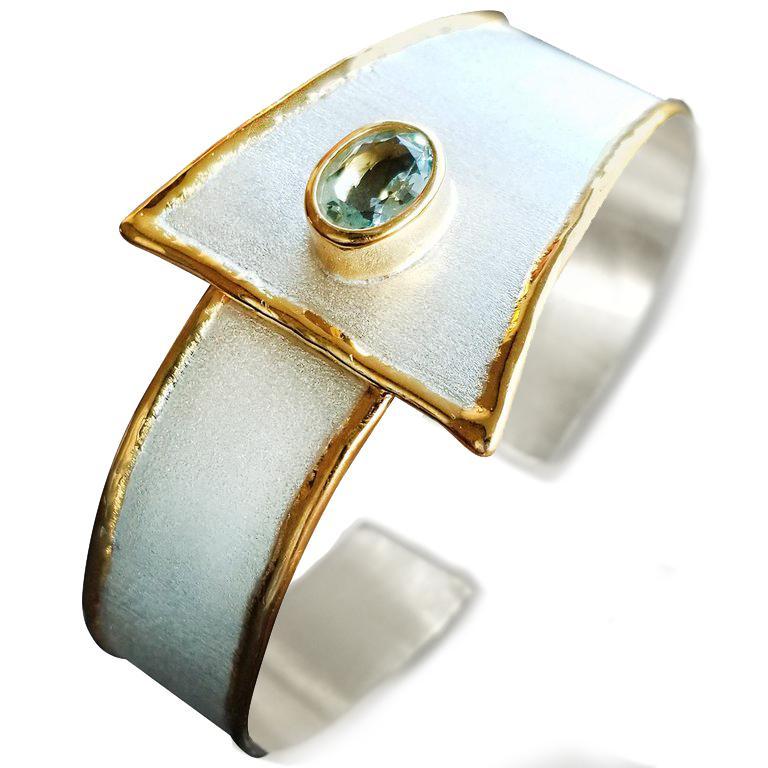 Contemporary Yianni Creations 2.85 Carat Aquamarine Diamond Fine Silver and 24 Karat Gold Set For Sale