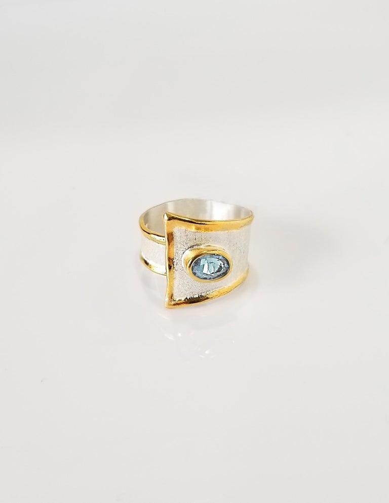 Oval Cut Yianni Creations 2.85 Carat Aquamarine Diamond Fine Silver and 24 Karat Gold Set For Sale