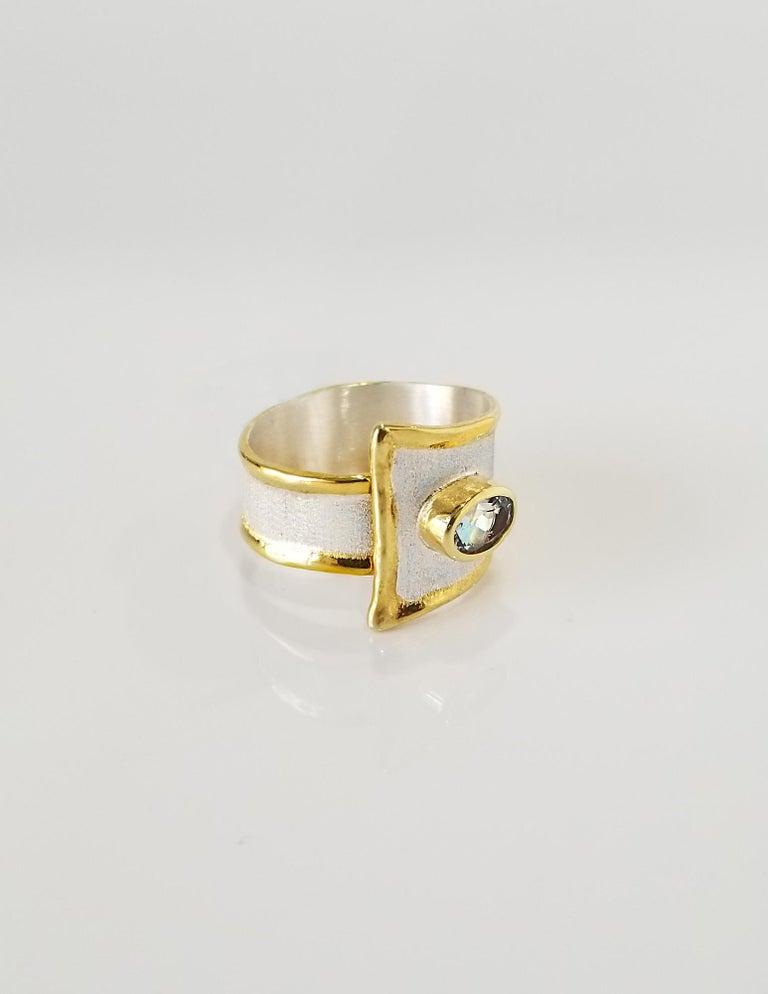 Women's Yianni Creations 2.85 Carat Aquamarine Diamond Fine Silver and 24 Karat Gold Set For Sale