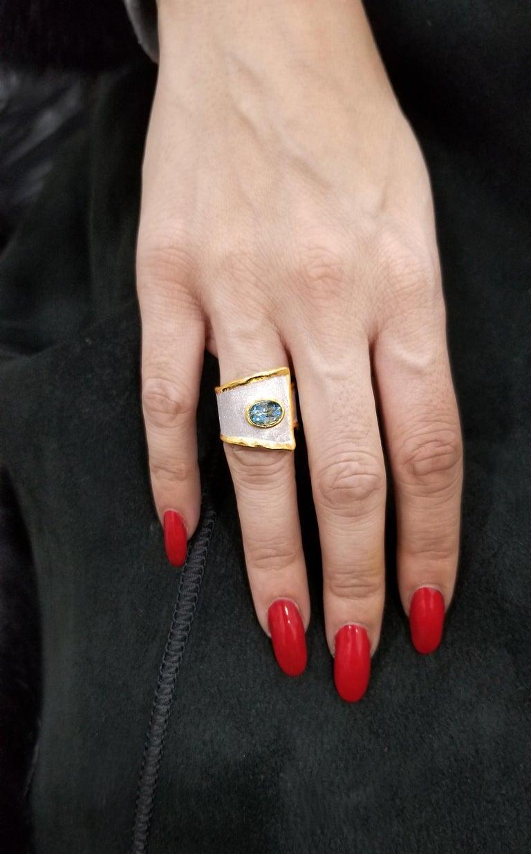Yianni Creations 2.85 Carat Aquamarine Diamond Fine Silver and 24 Karat Gold Set For Sale 1