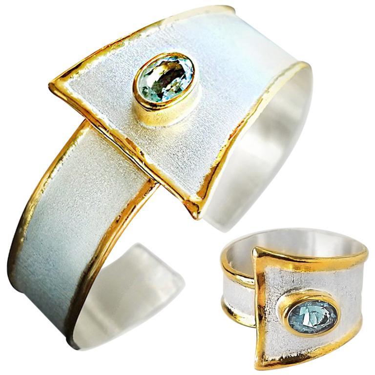 Yianni Creations 2.85 Carat Aquamarine Diamond Fine Silver and 24 Karat Gold Set For Sale