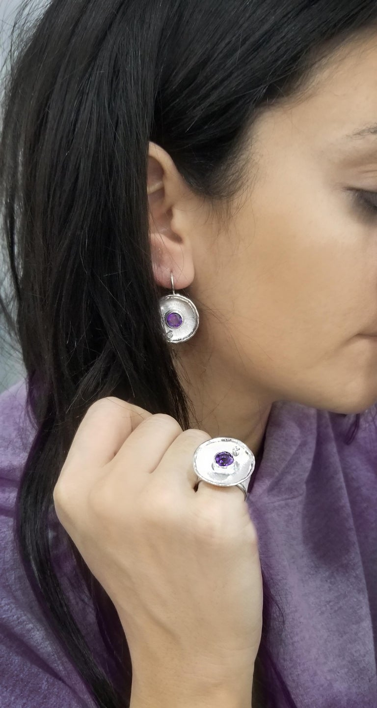 Yianni Creations Fine Silver Round Amethyst and Diamond Palladium Earrings For Sale 5