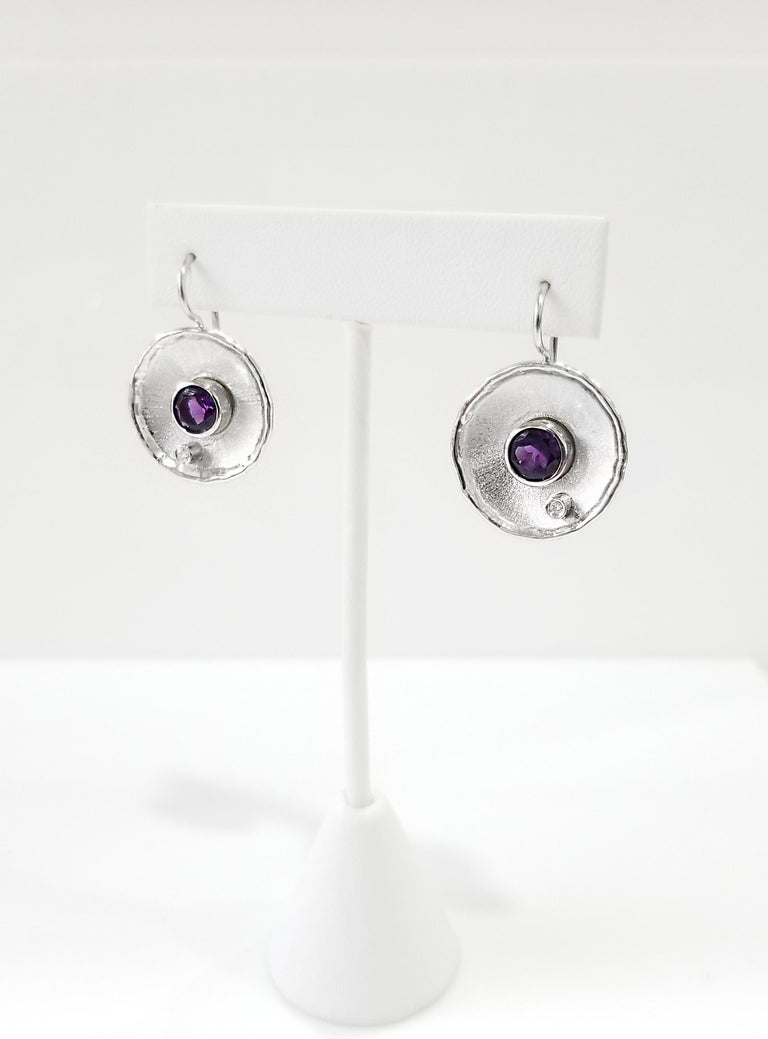 Contemporary Yianni Creations Fine Silver Round Amethyst and Diamond Palladium Earrings For Sale