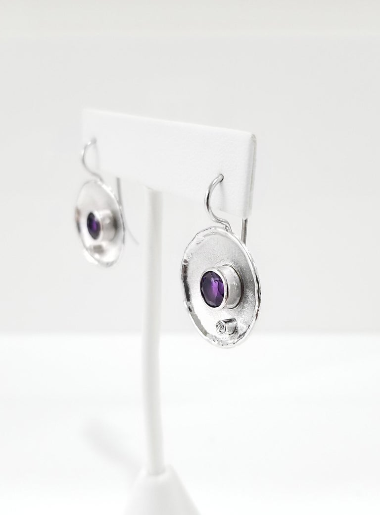 Yianni Creations Fine Silver Round Amethyst and Diamond Palladium Earrings In New Condition For Sale In Astoria, NY