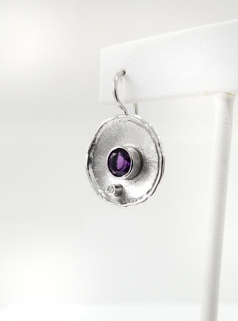 Yianni Creations Fine Silver Round Amethyst and Diamond Palladium Earrings For Sale 2