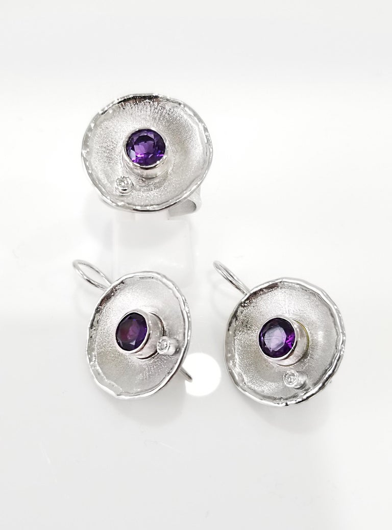 Yianni Creations Fine Silver Round Amethyst and Diamond Palladium Earrings For Sale 4