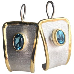 Yianni Creations 3.20 Carat Blue Topaz Fine Silver and 24 Karat Dangle Earrings