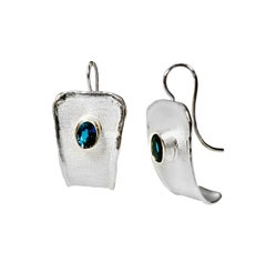 Yianni Creations 3.20 Carat Blue Topaz Fine Silver and Palladium Dangle Earrings