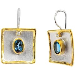 Yianni Creations 3.20 Carat Topaz and Diamond Fine Silver 24 Karat Gold Earrings