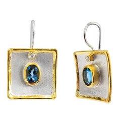 Yianni Creations 3.20 Carat Topaz and Diamond Fine Silver 24 Karat Gold Earrings