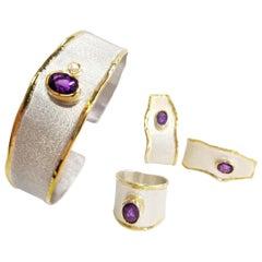 Yianni Creations 5.00 Carat Amethyst Diamond Fine Silver 24 Karat Gold Set