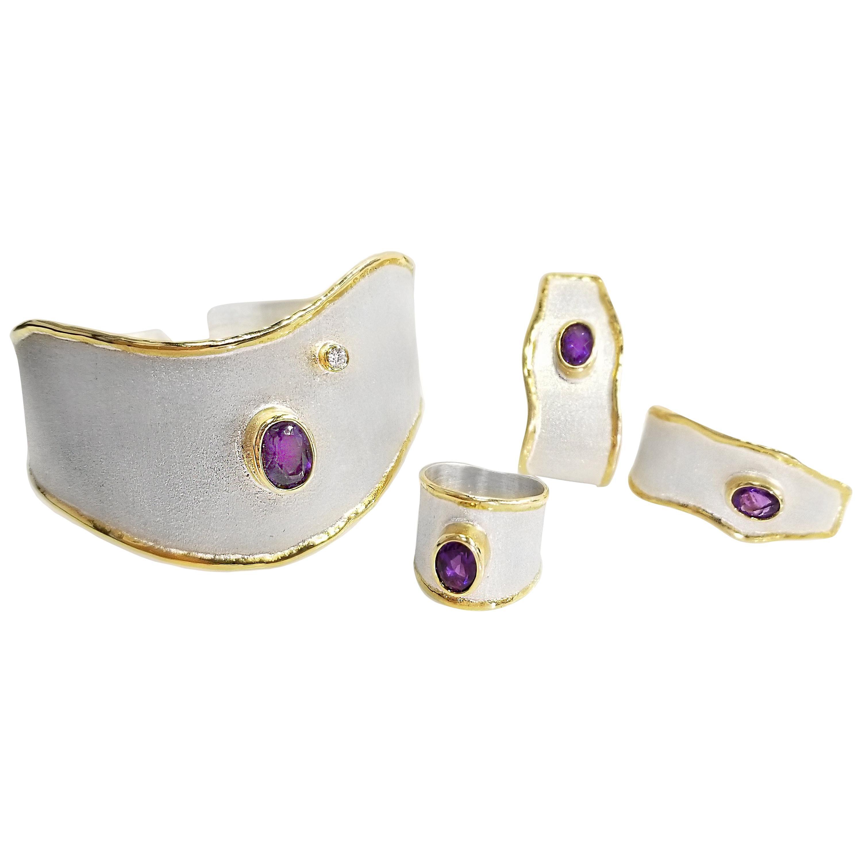 Yianni Creations 5.50 Carat Amethyst Diamond Fine Silver 24 Karat Gold Set