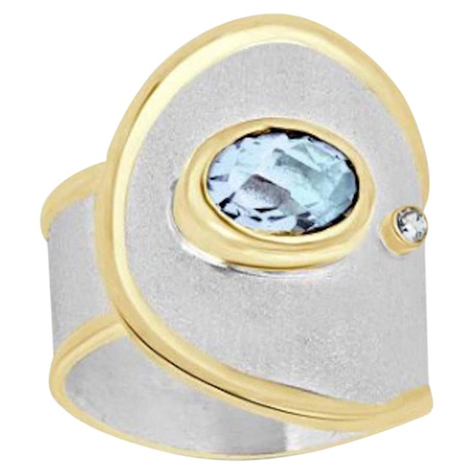Yianni Creations Aquamarine Diamond Fine Silver and 24 Karat Gold  Band Ring