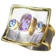 Yianni Creations Amethyst and Blue Topaz Fine Silver 24 Karat Gold Wide Ring