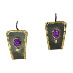 Yianni Creations Amethyst and Diamond Fine Silver Gold Two-Tone Dangle Earrings