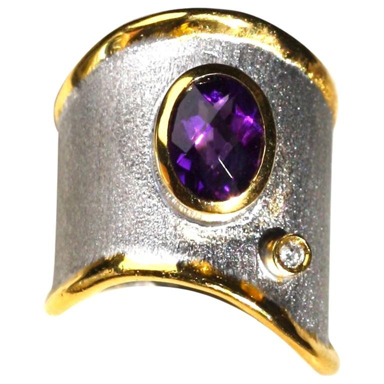 Yianni Creations Amethyst and Diamond Fine Silver 24 Karat Gold Band Ring