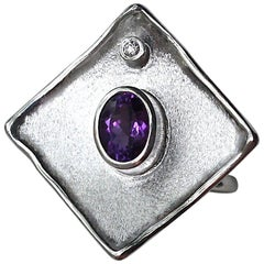 Yianni Creations Amethyst and Diamond Fine Silver 950 Square Handmade Band Ring