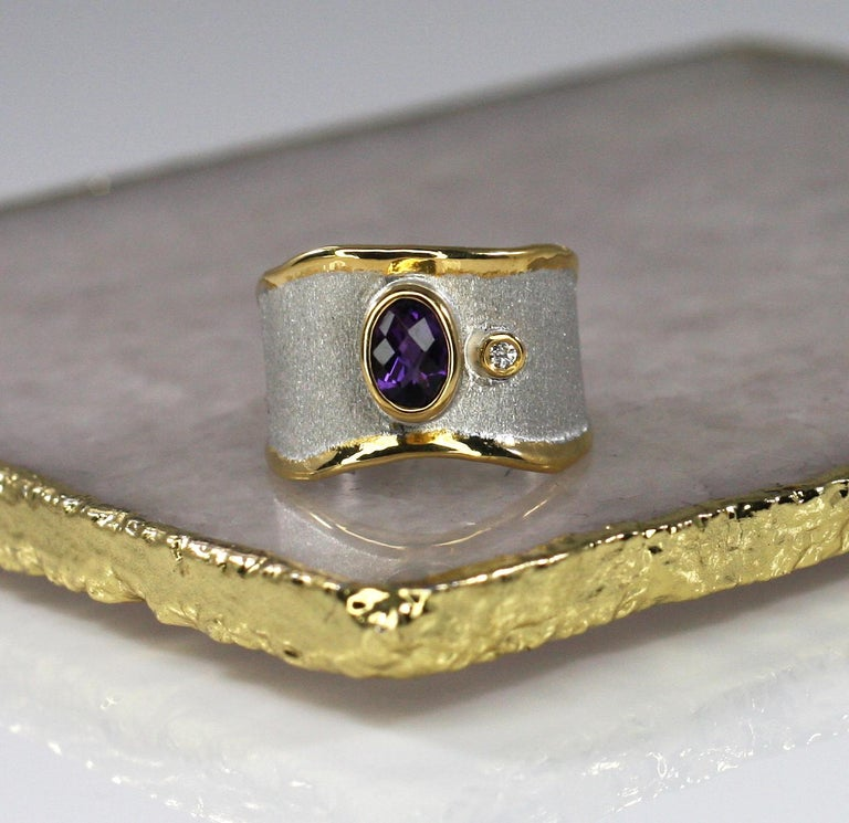 Yianni Creations Amethyst and Diamond Ring in Fine Silver and Pure Gold Plate For Sale 6