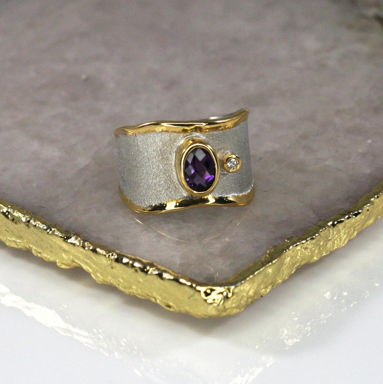Contemporary Yianni Creations Amethyst and Diamond Ring in Fine Silver and Pure Gold Plate For Sale