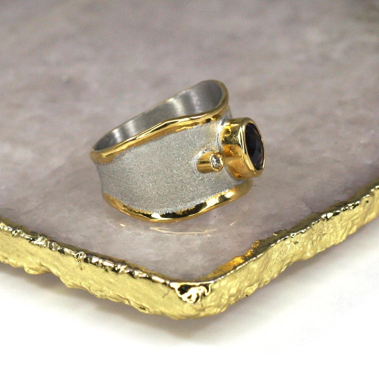 Oval Cut Yianni Creations Amethyst and Diamond Ring in Fine Silver and Pure Gold Plate For Sale