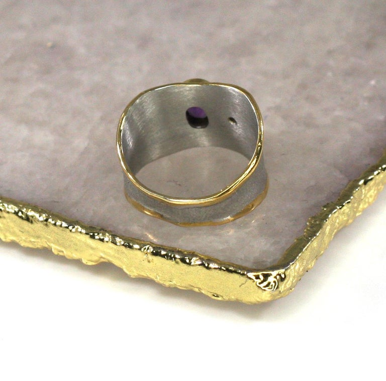 Yianni Creations Amethyst and Diamond Ring in Fine Silver and Pure Gold Plate In New Condition For Sale In Astoria, NY