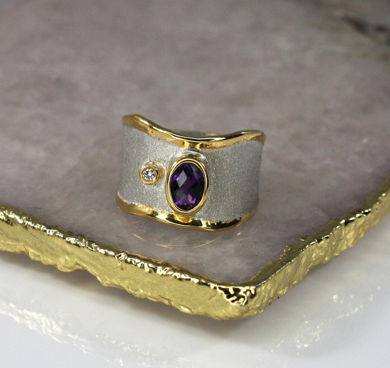 Women's Yianni Creations Amethyst and Diamond Ring in Fine Silver and Pure Gold Plate For Sale