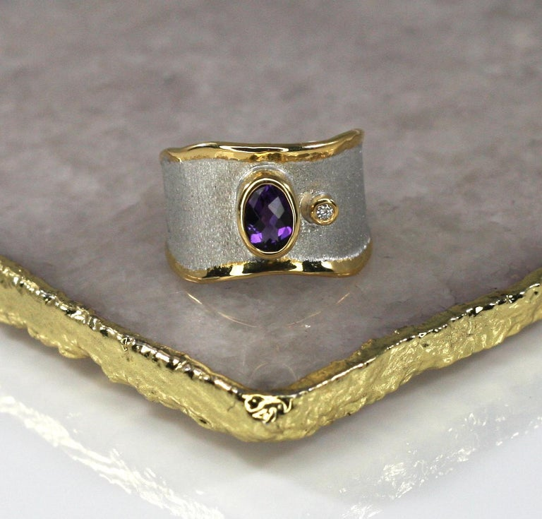 Yianni Creations Amethyst and Diamond Ring in Fine Silver and Pure Gold Plate For Sale 1