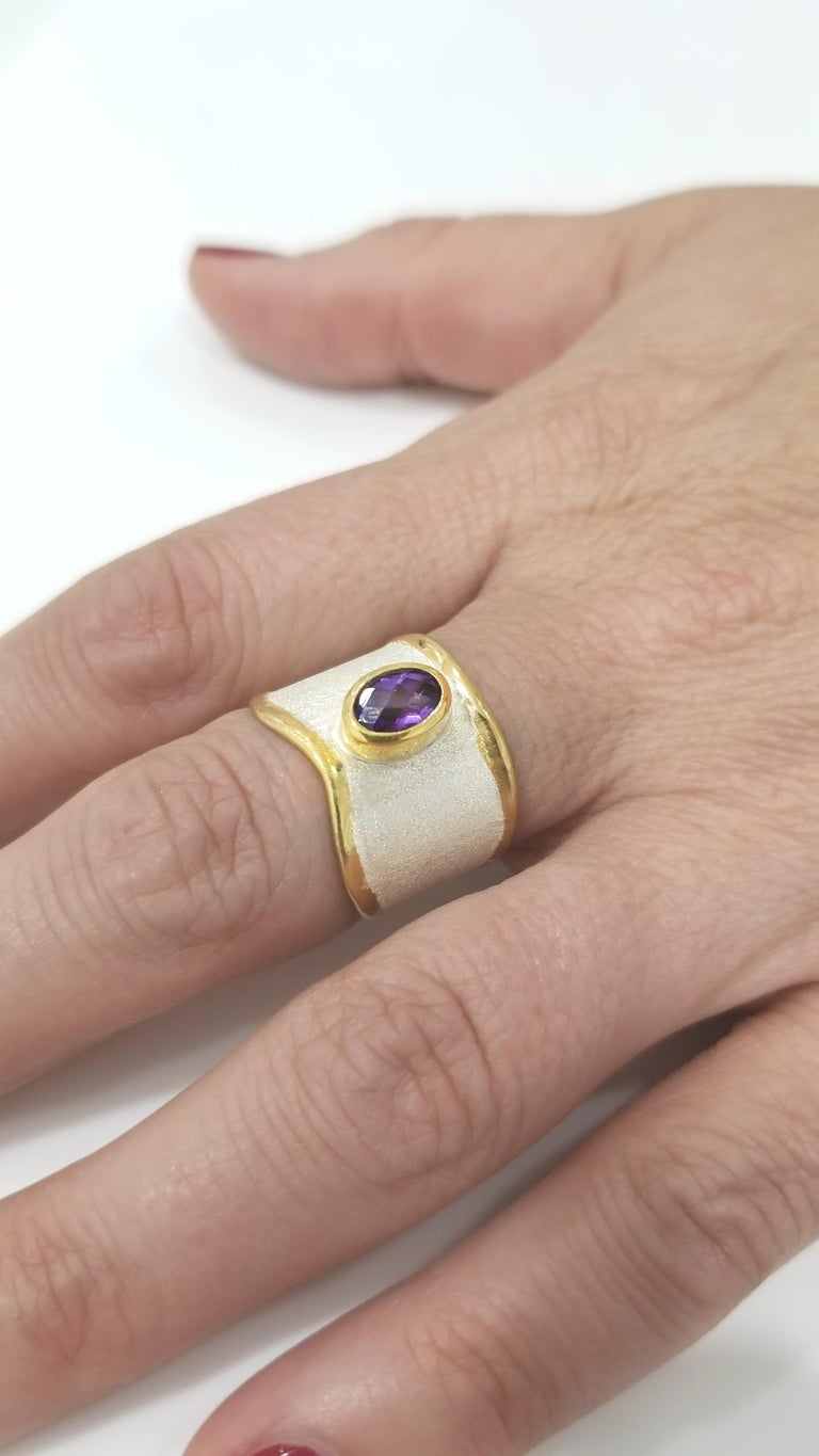 Yianni Creations Amethyst and Diamond Ring in Fine Silver and Pure Gold Plate For Sale 2