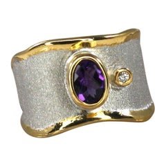 Yianni Creations Amethyst and Diamond Fine Silver and Pure Gold Plate Band Ring