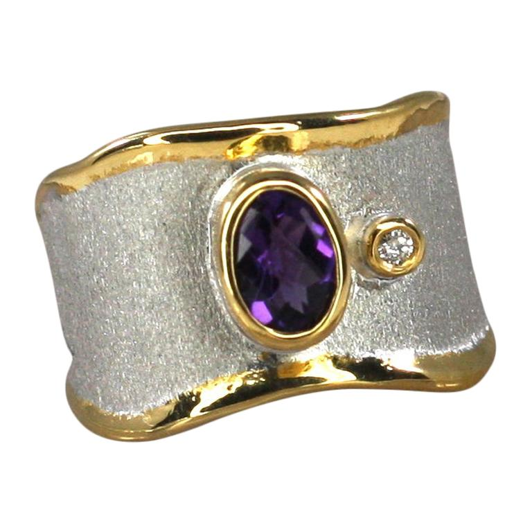 Yianni Creations Amethyst and Diamond Ring in Fine Silver and Pure Gold Plate For Sale