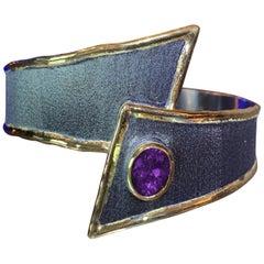 Yianni Creations Amethyst Bracelet in Fine Silver Black Rhodium 24 Karat Gold