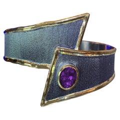 Yianni Creations Amethyst Bracelet Two-Tone Fine Silver Rhodium 24 Karat Gold
